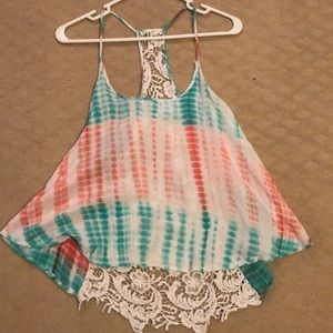 Lace Back Tie Dye Tank Top